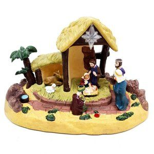 Vintage Gemmy Talking Manger Nativity Scene Decor